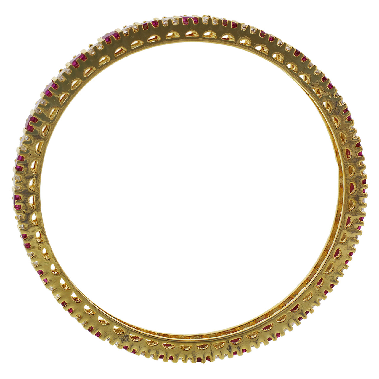 Gold Plated Ruby Glass With CZ Bollywood Indian Bangle Bracelets