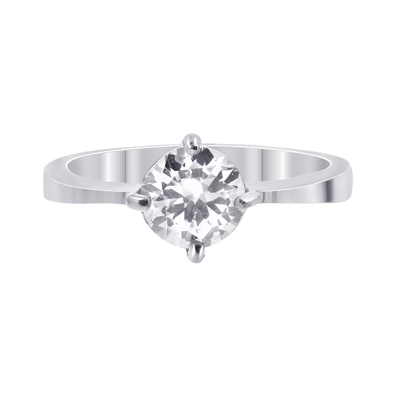 Stainless Steel Round Clear CZ Solitaire Ring