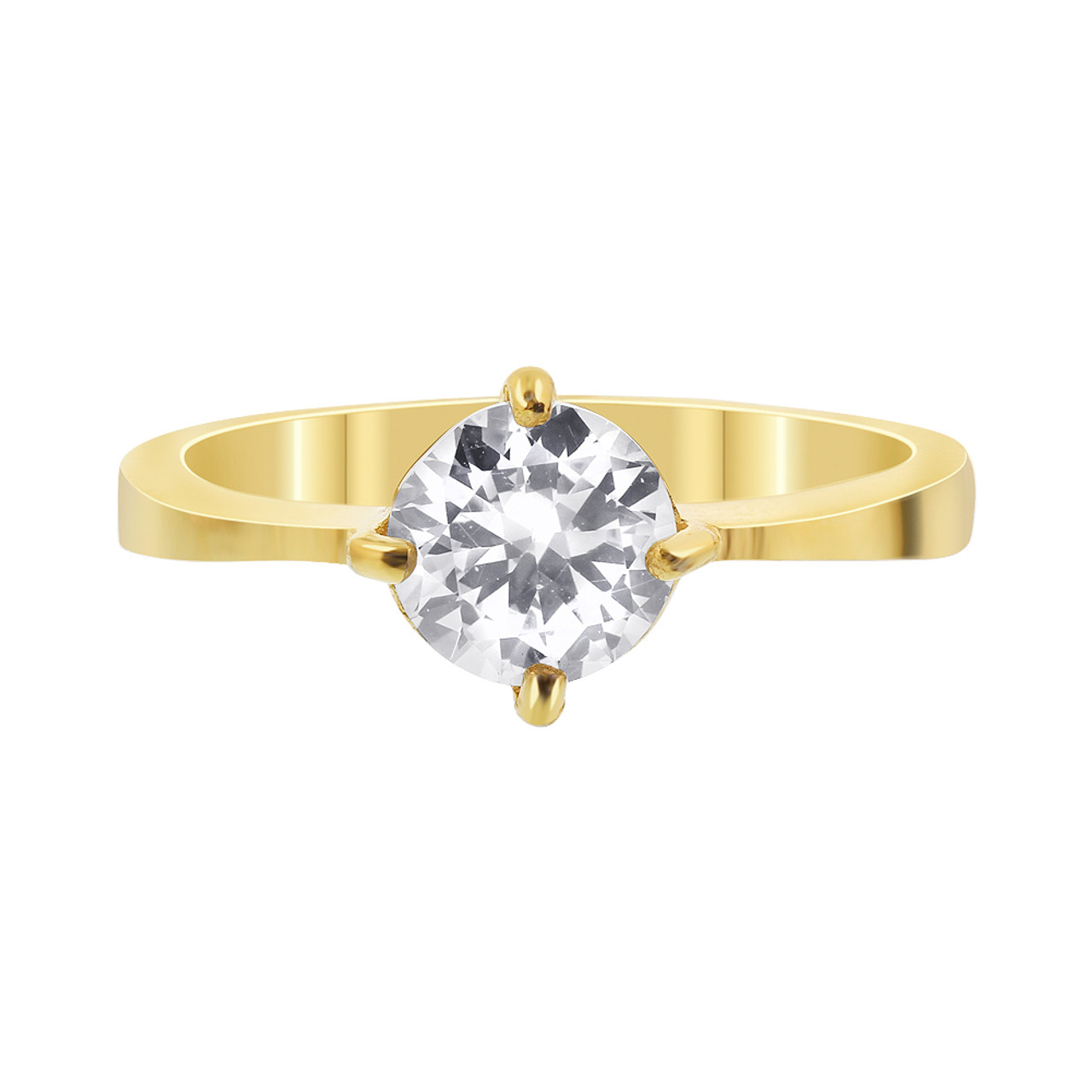 Stainless Steel Gold Tone Round Clear CZ Solitaire Ring