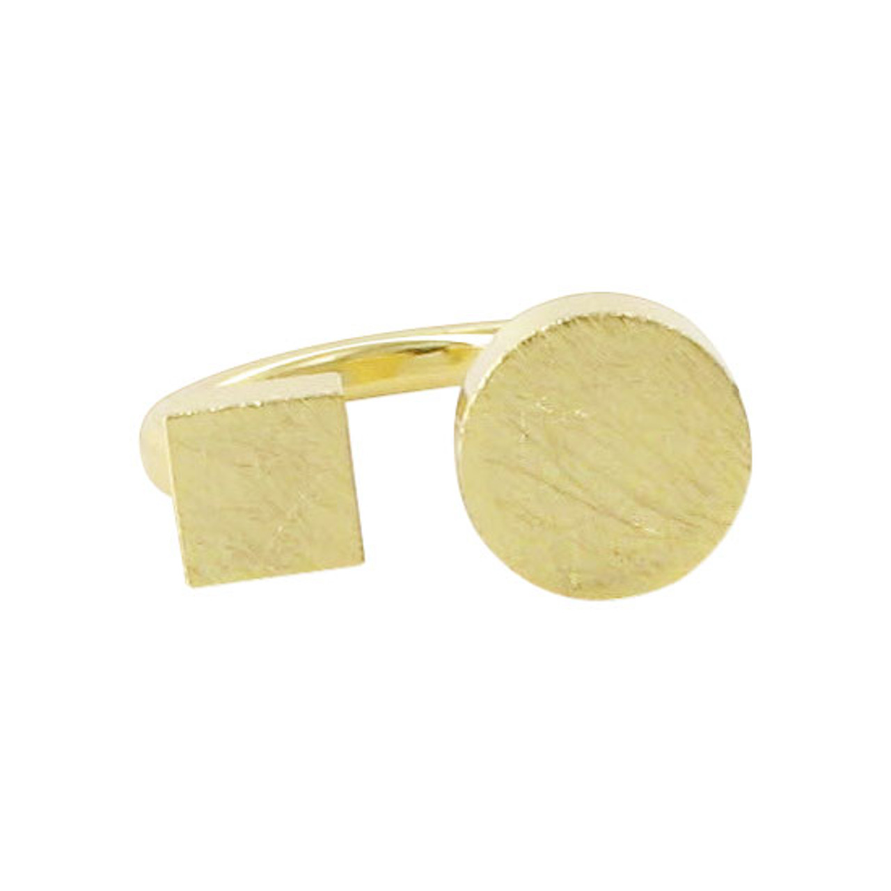 Gold Plated Square & Round Front Designer Scratch Style Ring