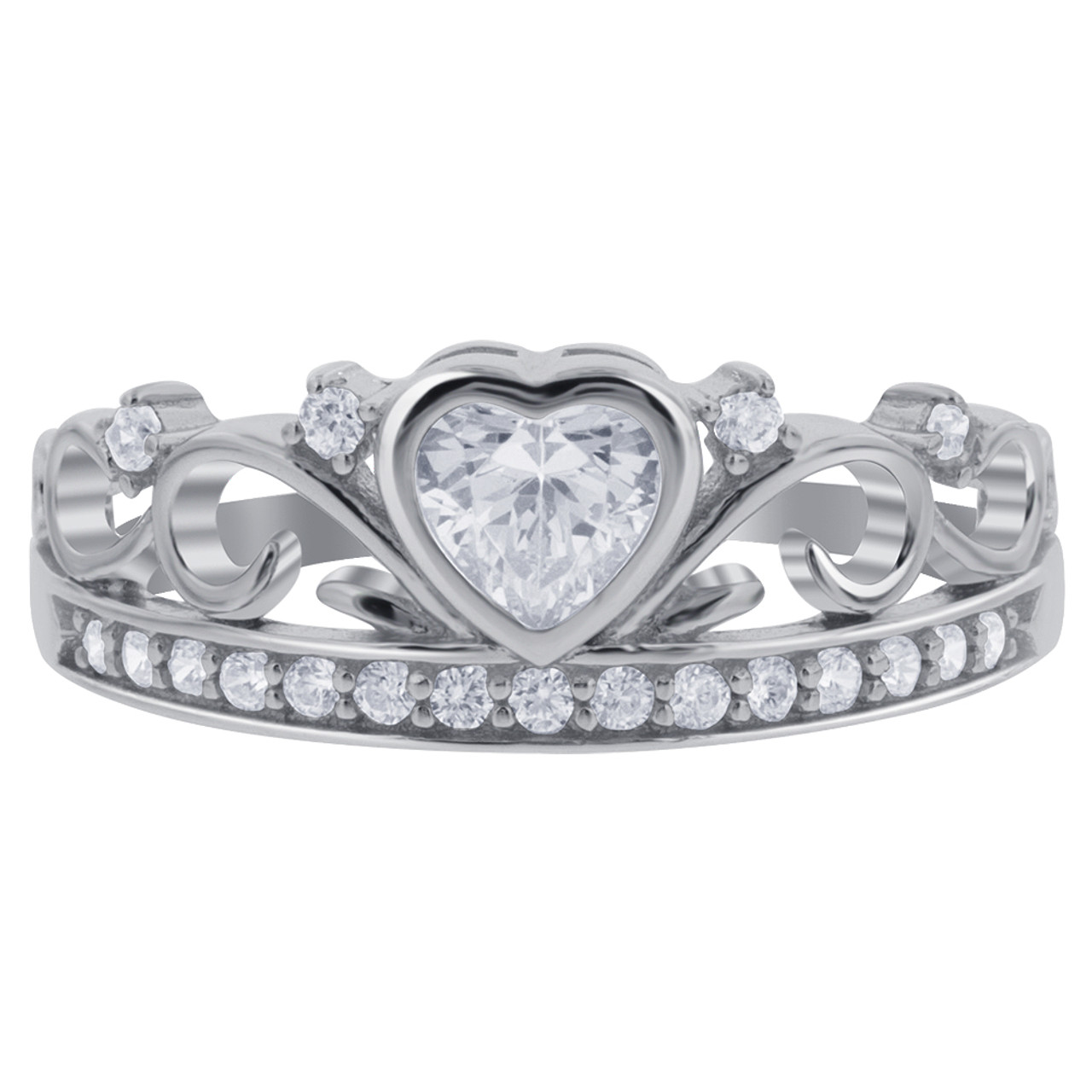 925 Sterling Silver CZ Heart Cubic Zirconia Crown Claddagh Ring
