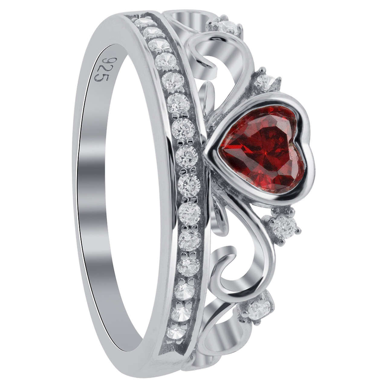 925 Silver CZ Red Heart CZ Crown Claddagh Ring
