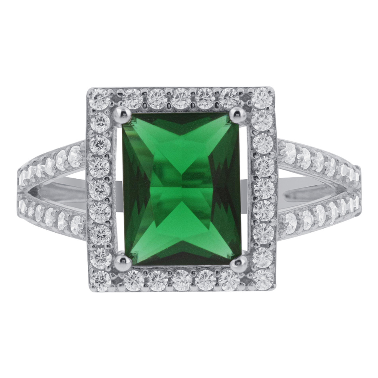 925 Sterling Silver CZ Green Rectangle Cubic Zirconia Halo Ring