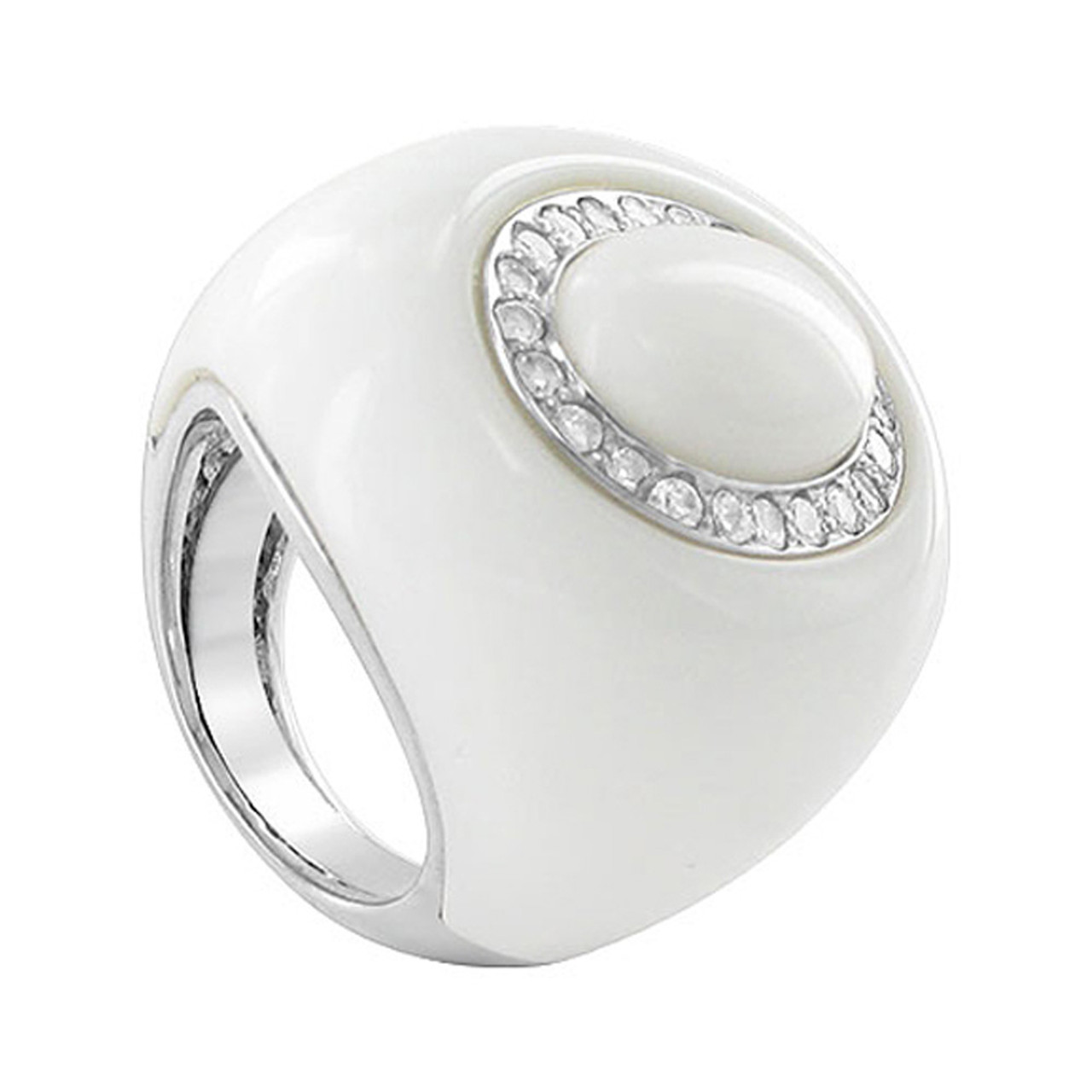Sterling Silver Oval Simulated White Stone Cocktail Ring