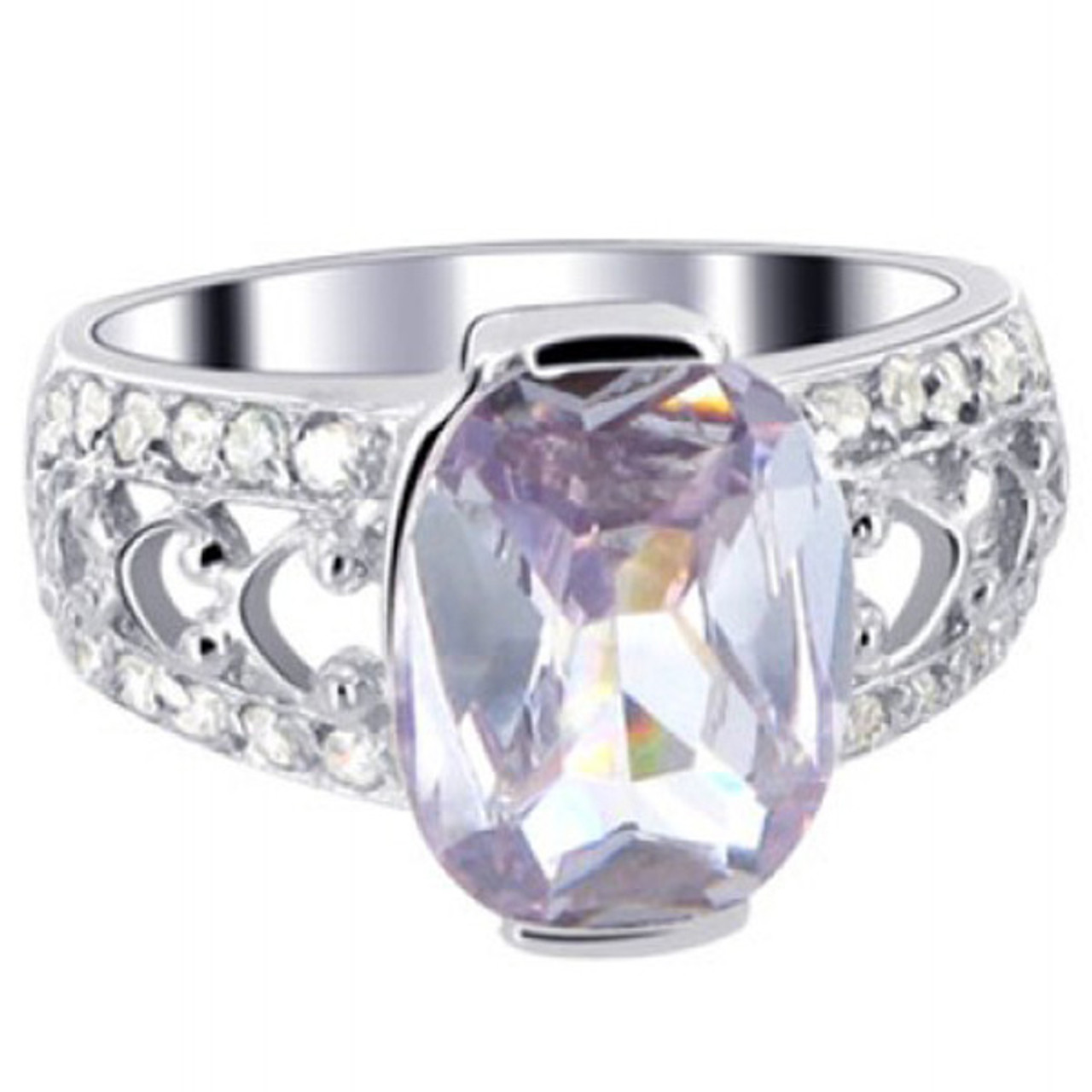 925 Silver Oval Lavender Color CZ Solitaire Ring