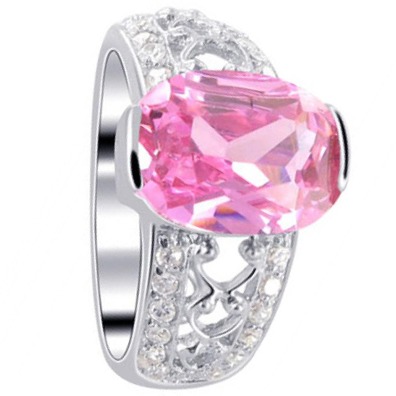 925 Sterling Silver Oval Pink Cubic Zirconia Solitaire Ring