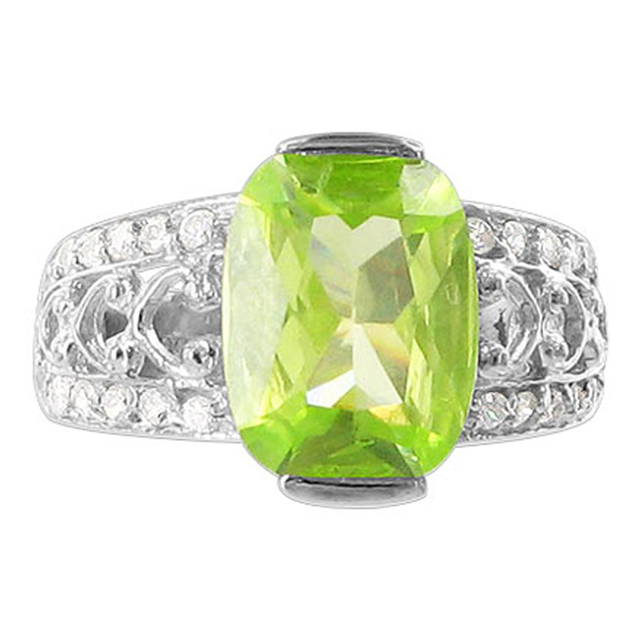 Sterling Silver cut Green CZ Cubic Zirconia Solitaire Ring