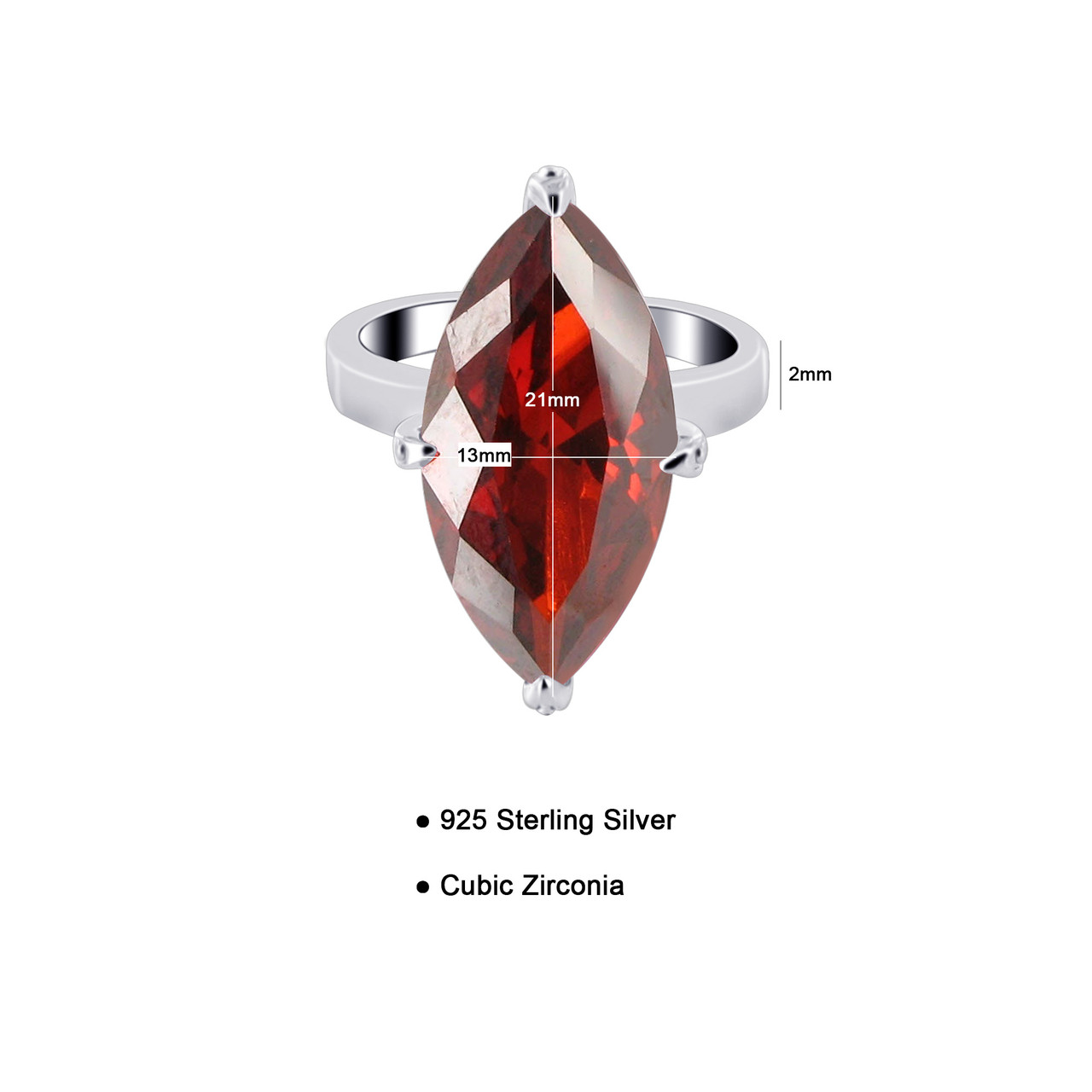 925 Silver Marquise Shape Garnet Color CZ Solitaire Ring
