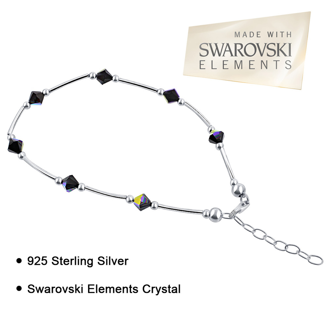 """Made with Swarovski Elements Vitrail Crystal 925 Silver 9"""" to 10"""" Ankle Bracelet"""