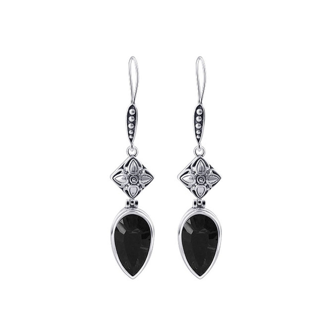 Sterling Silver Smoky Quartz Floral Bali Design Drop Earrings