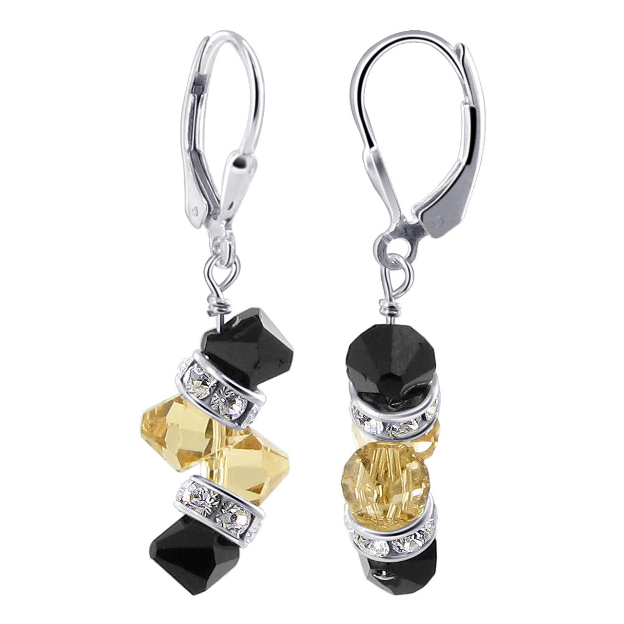 Made with Swarovski Elements Black Yellow Crystal Sterling Silver Drop Earrings