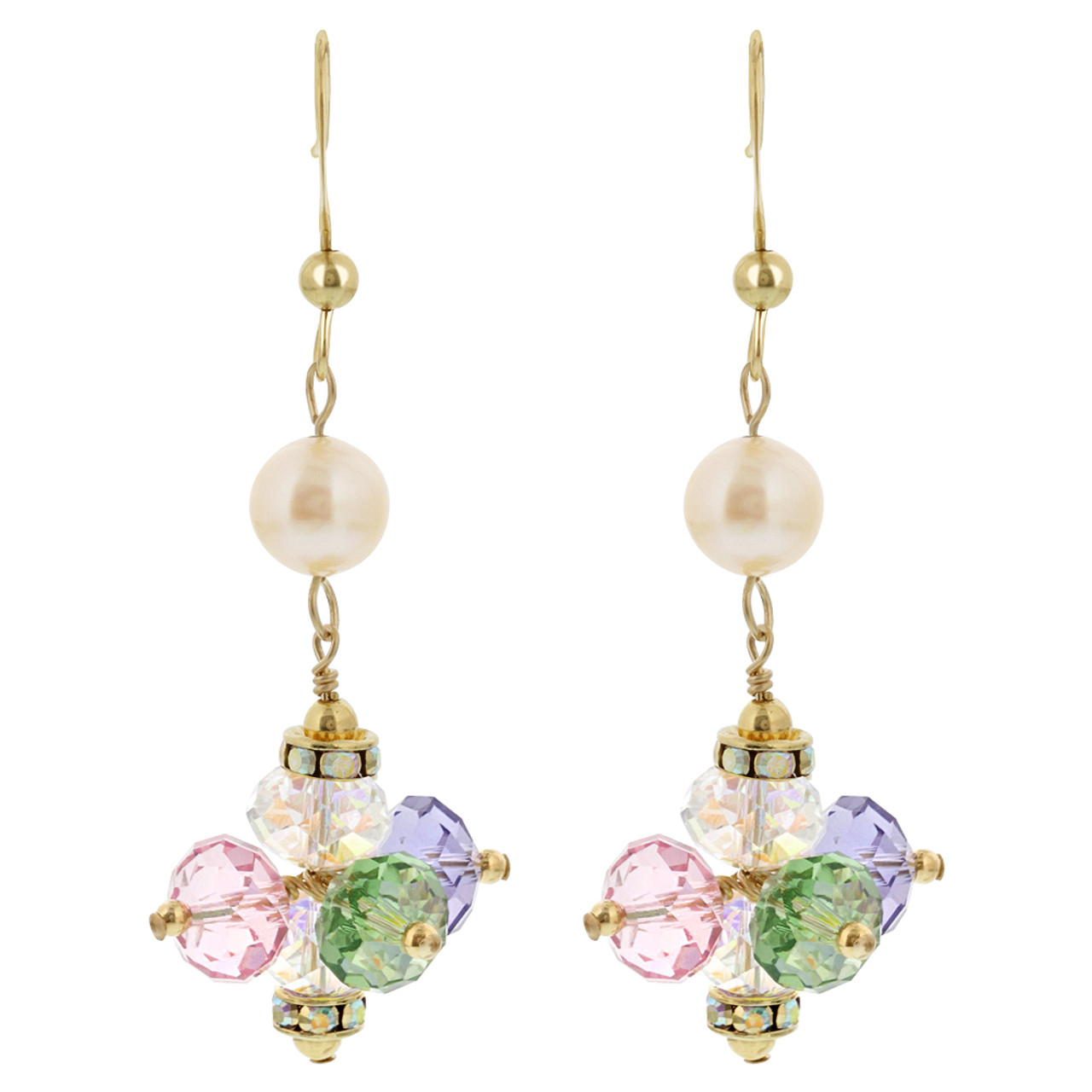Gold filled Simulated Pearl Multi Crystal Dangle Earrings