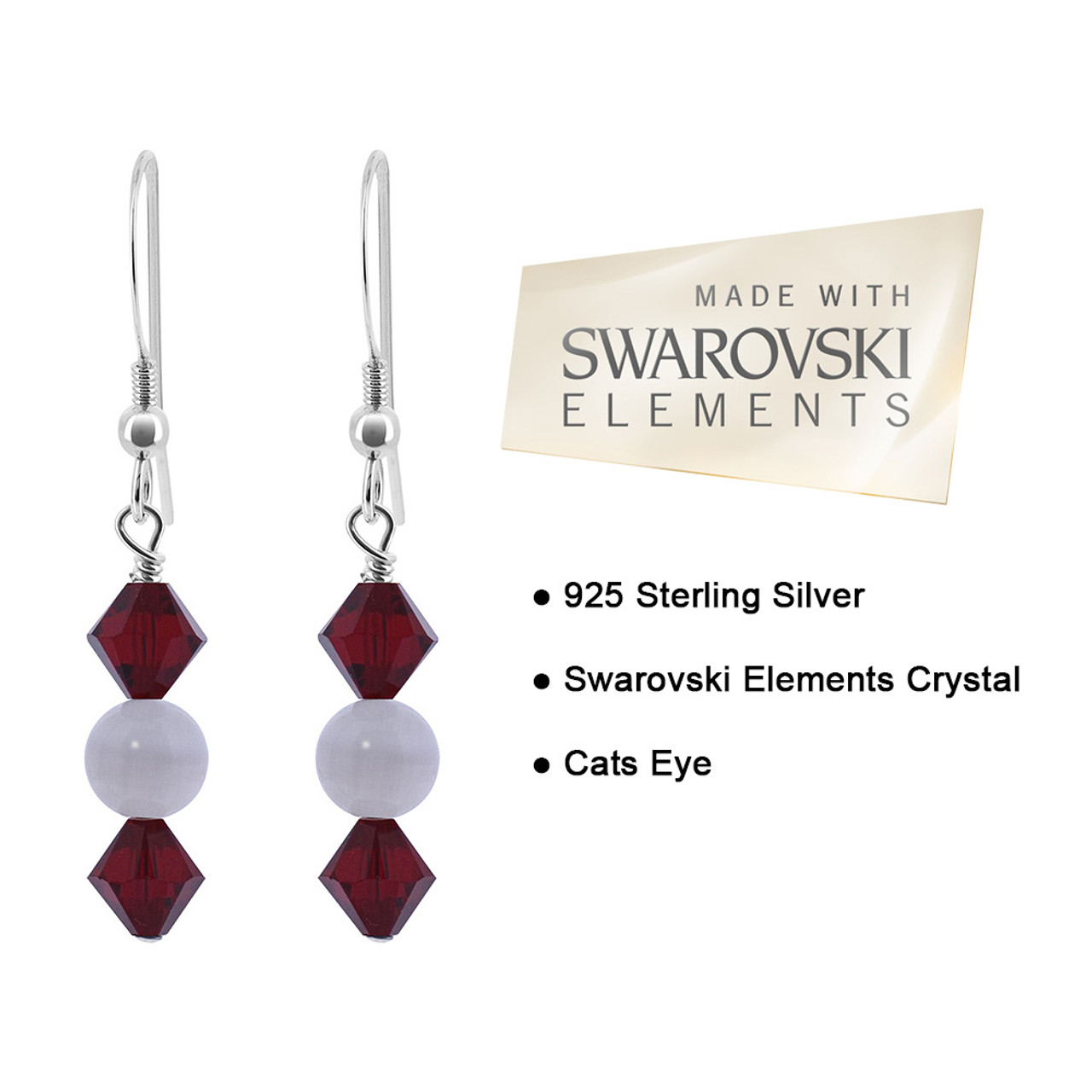 Cats Eye Bead and Crystal 925 Silver Drop Earrings