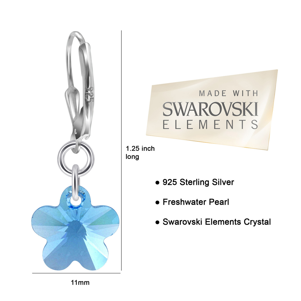 Swarovski Elements Blue Crystal Flower Silver Drop Earrings