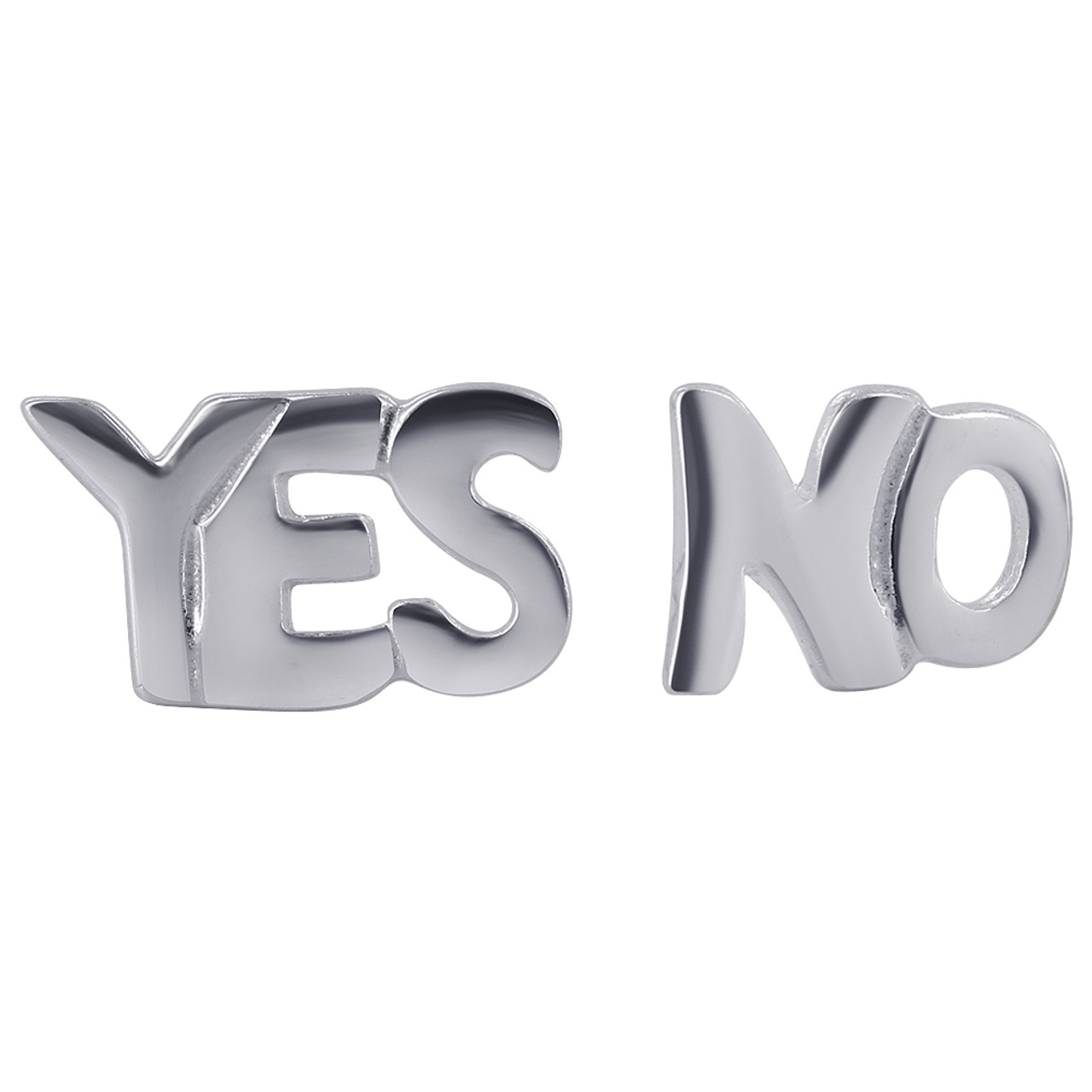 Sterling Silver Words YES and NO Post Back Stud Earrings
