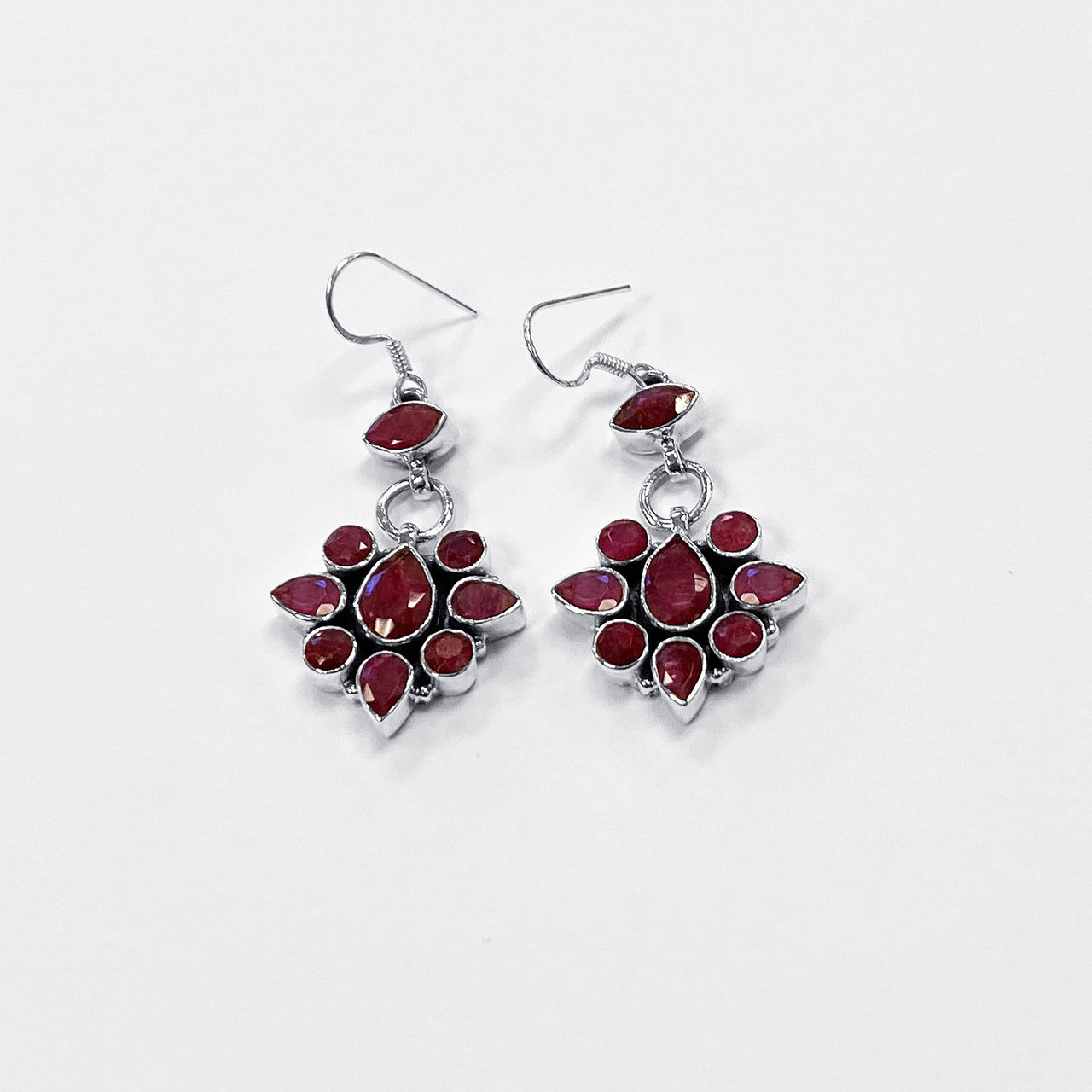 Ruby Gemstone Drop Earrings