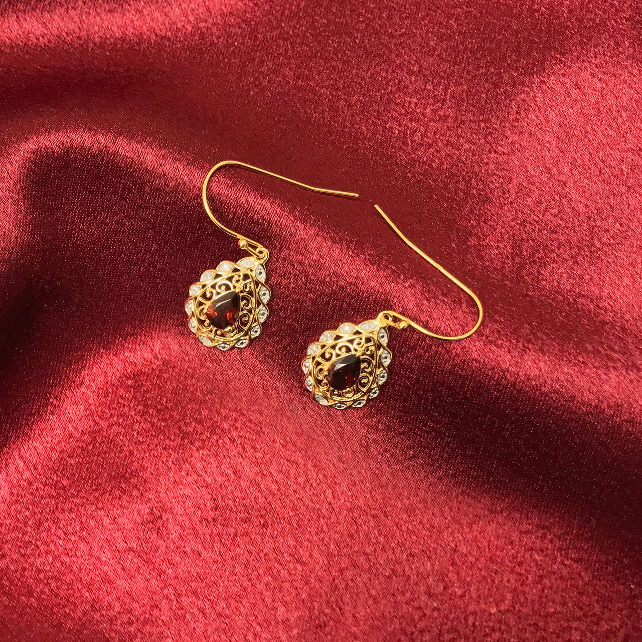 Garnet Gemstone Vermeil Earrings