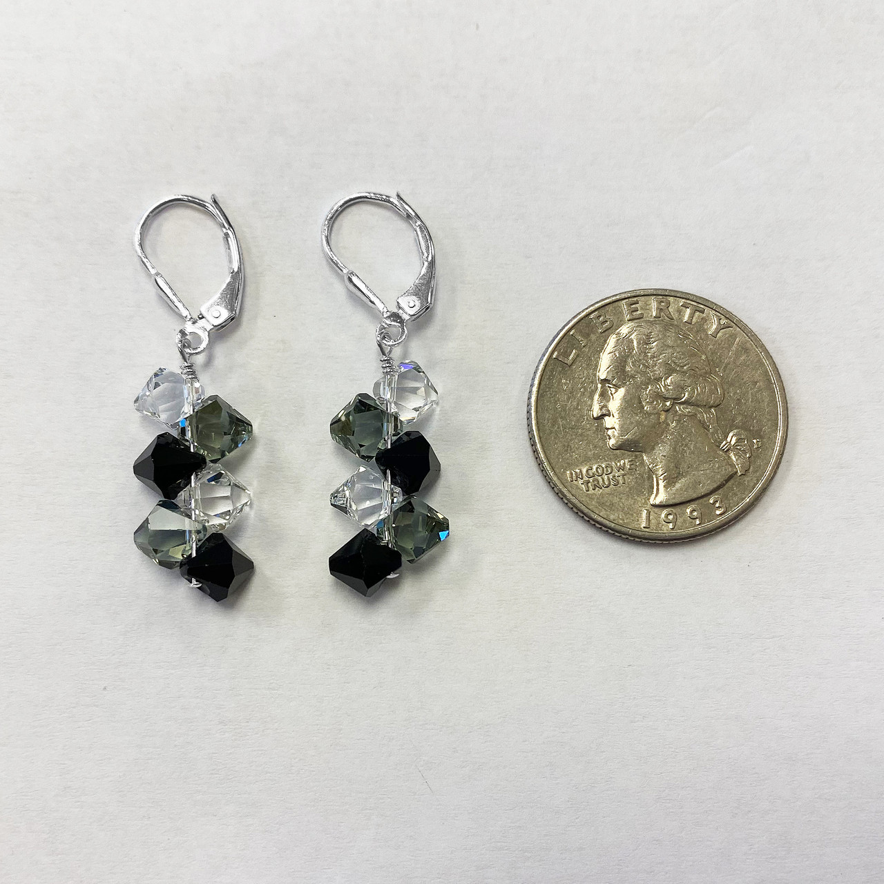 Sterling Silver Clear & Black Crystal Drop Earrings