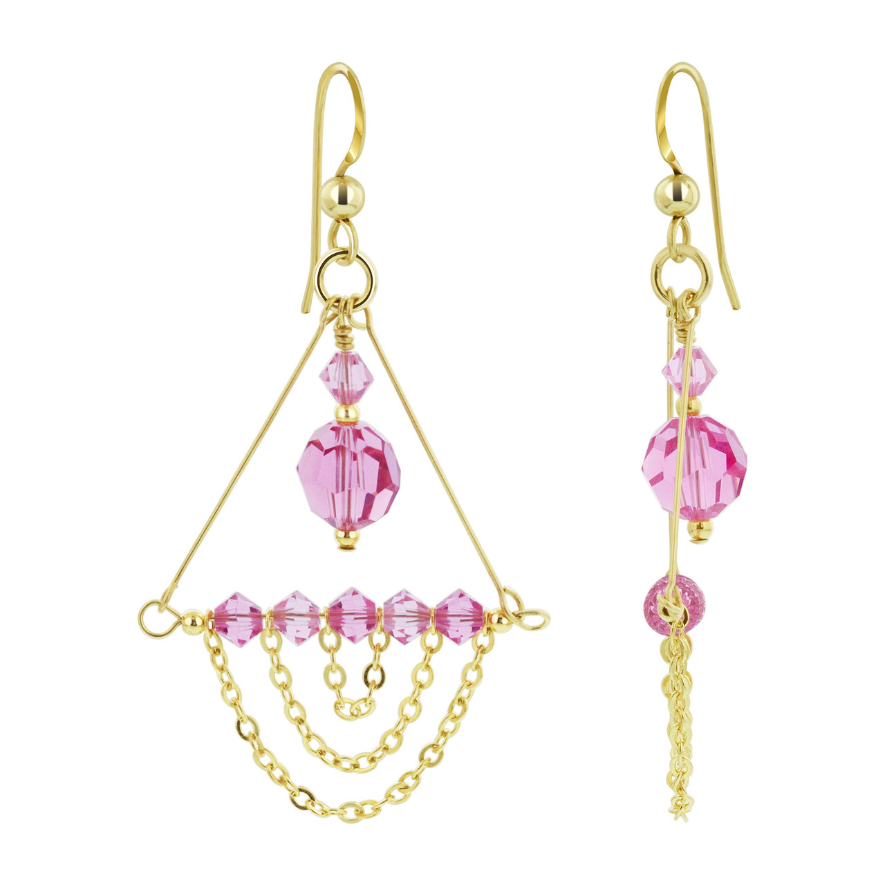 14K Gold Filled Pink Crystal Chandelier Drop Earrings