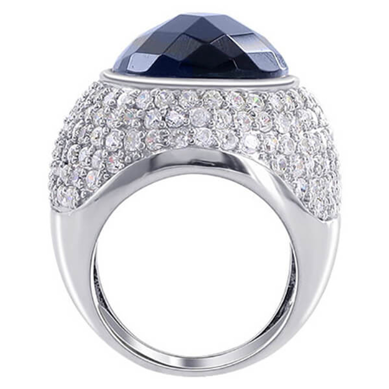 925 Silver Oval Black Faceted Cubic Zirconia Cocktail Ring