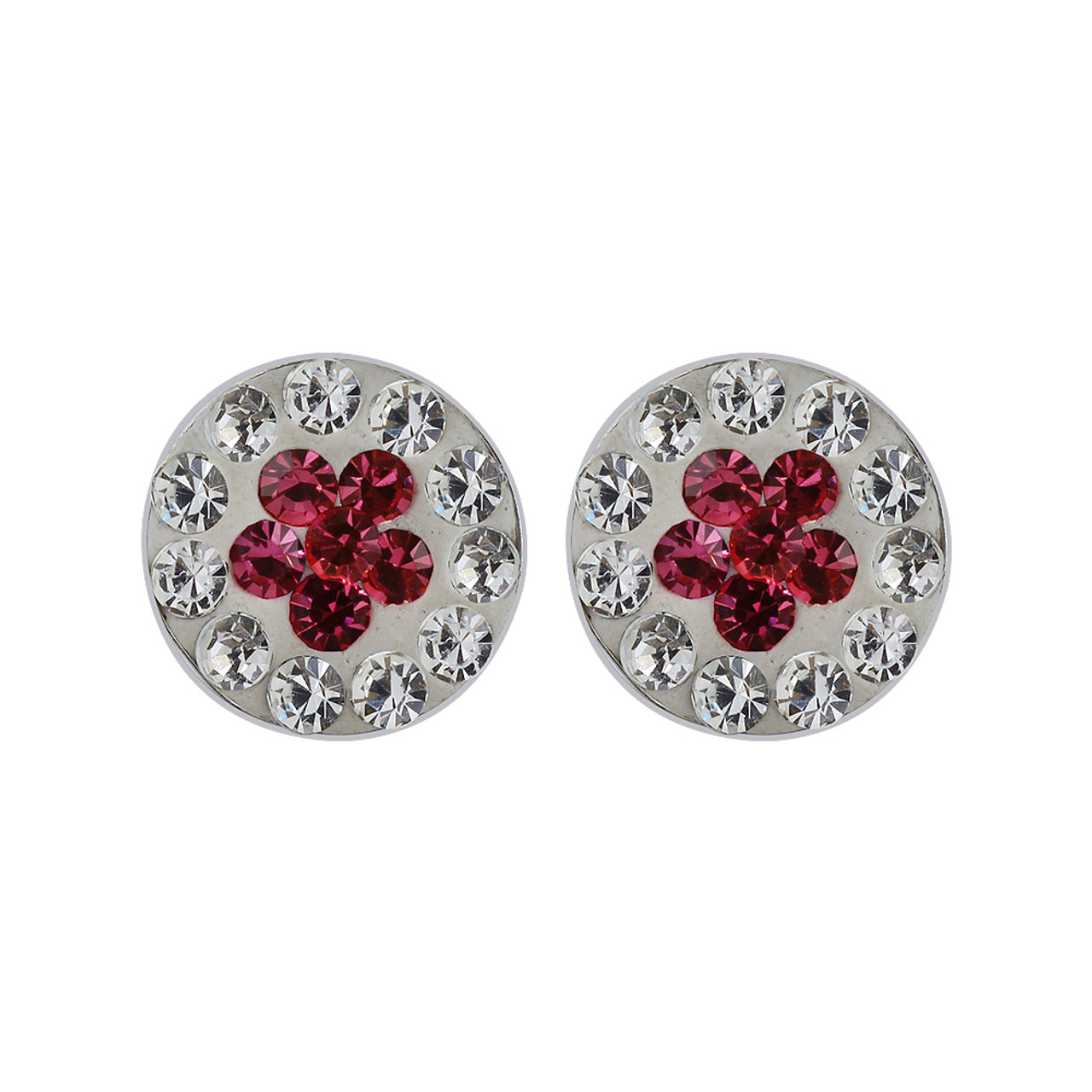 Pink and Clear Studded 925 Sterling Silver Earrings