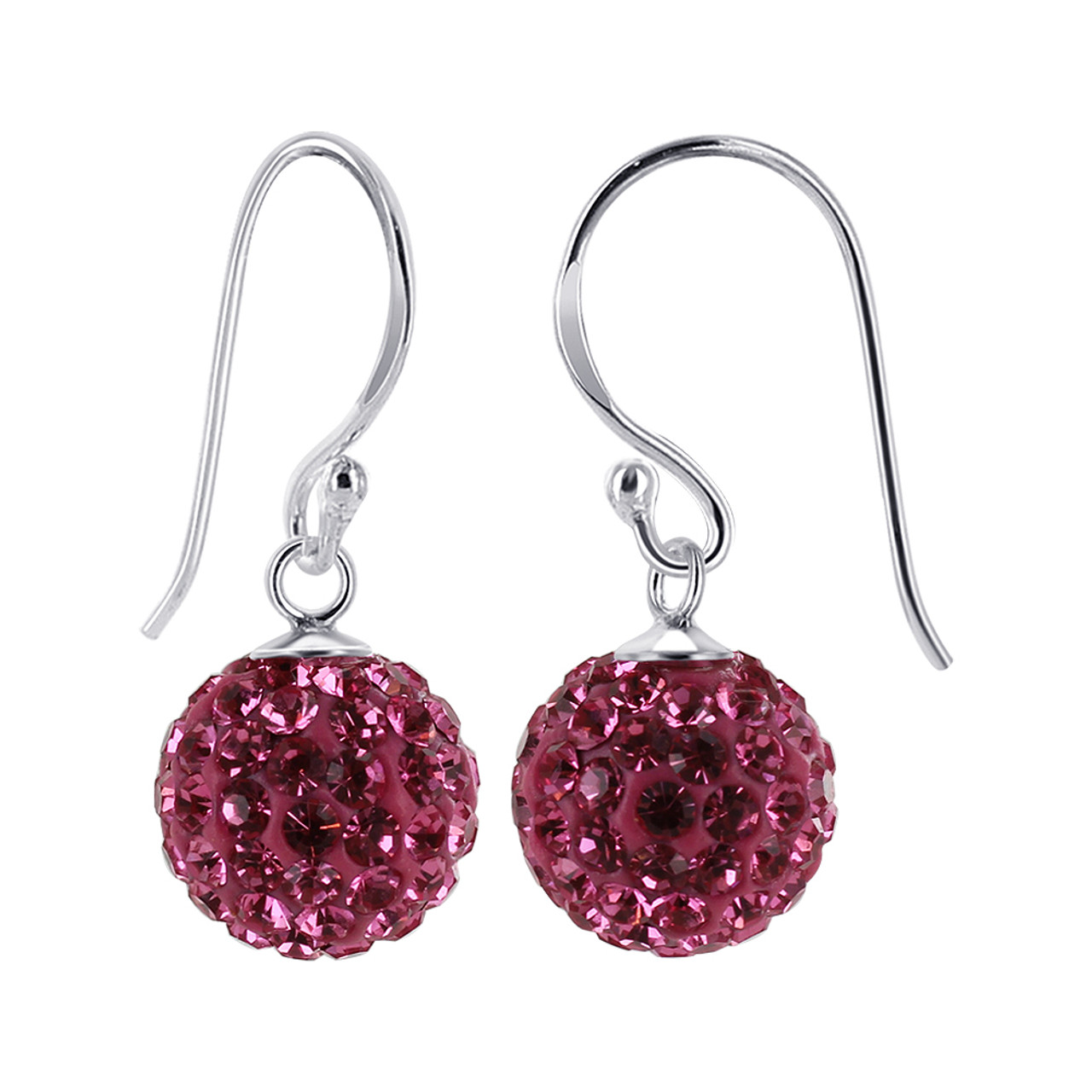 10mm Studded Pink Crystal 925 Silver Drop Earrings