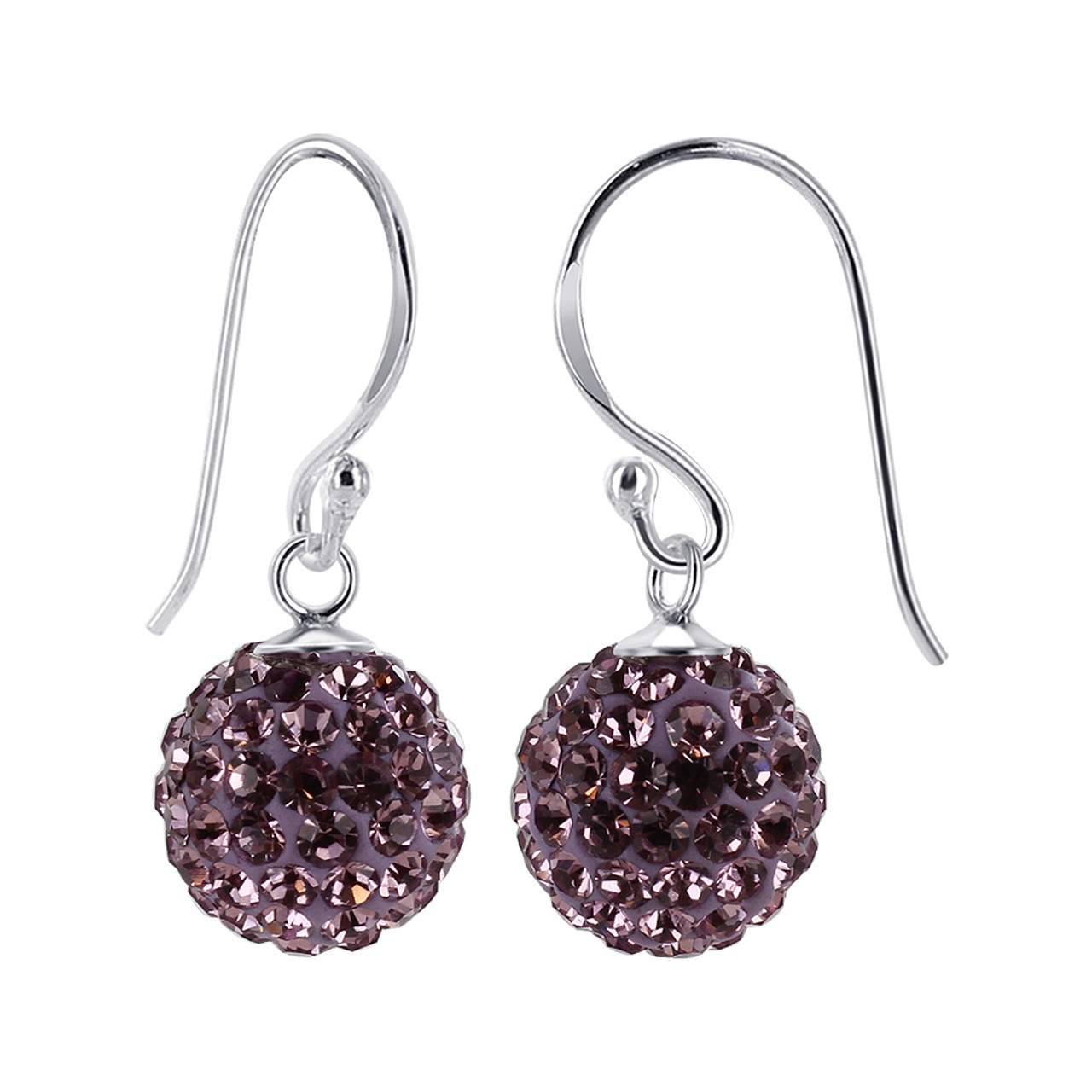Studded Lavender Crystal 925 Silver Drop Earrings
