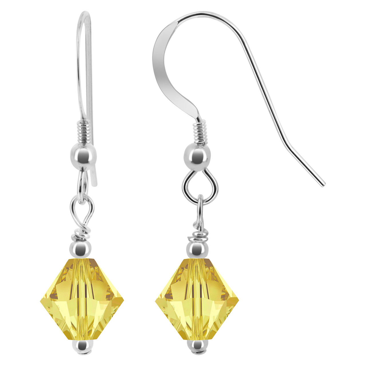 Yellow Crystal 925 Sterling Silver Drop Earrings