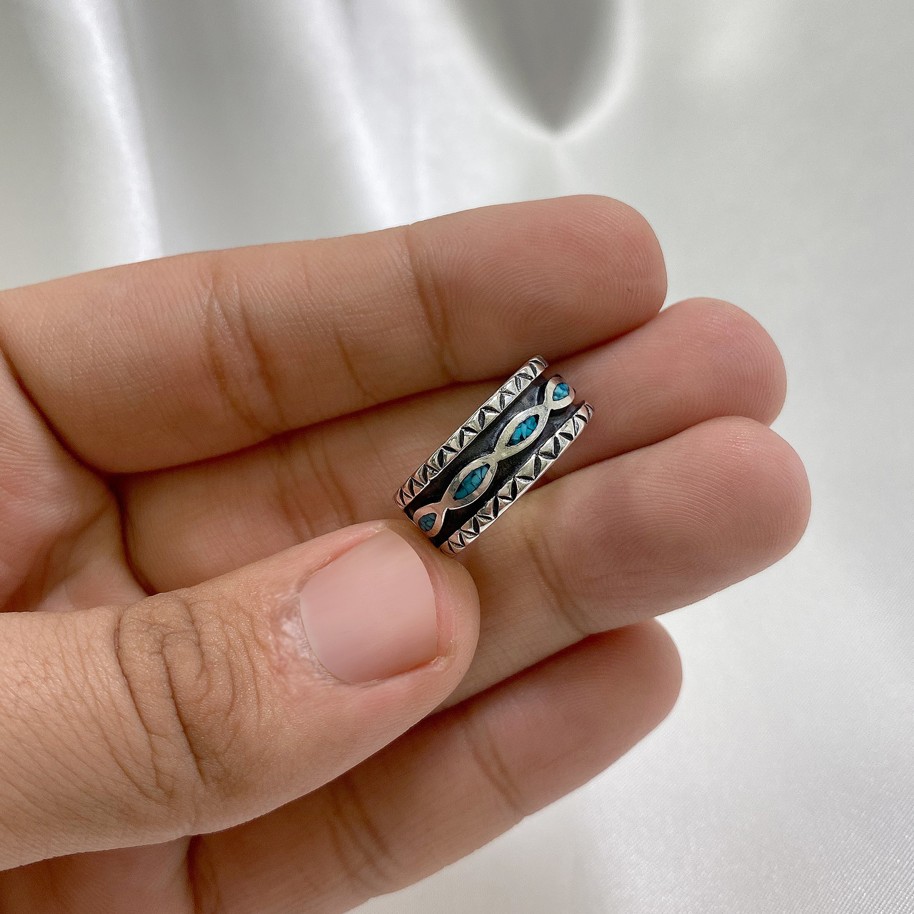 Turquoise Gemstone Sterling Silver Band Ring