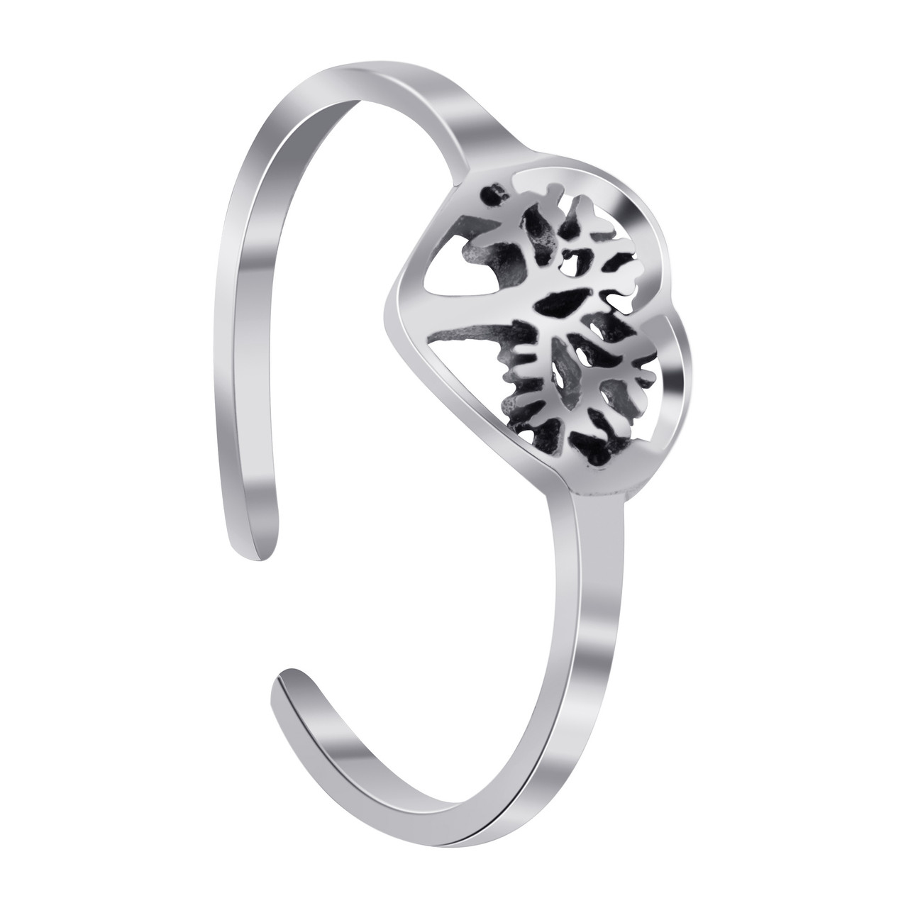 925 Silver Tree Of Life In Heart Toe Ring