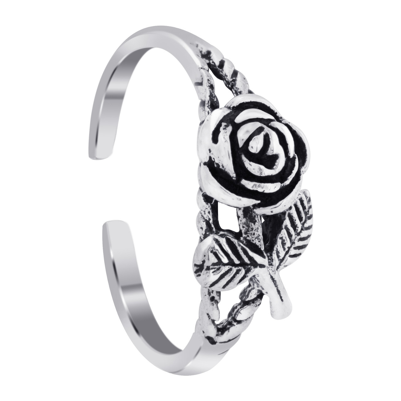 925 Silver Rose With Leaves Toe Ring