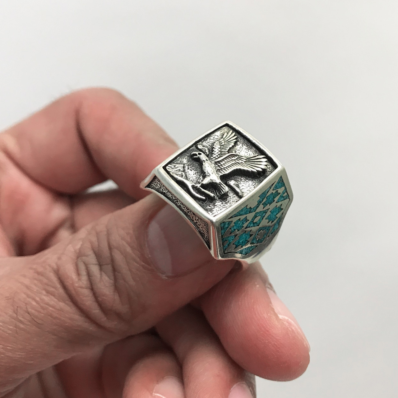 Men's 925 Silver Turquoise Southwestern Style Eagle Ring