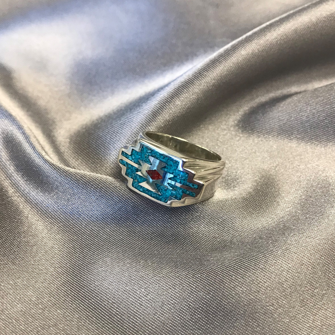 Turquoise and Coral Gemstone Southwestern Style Ring