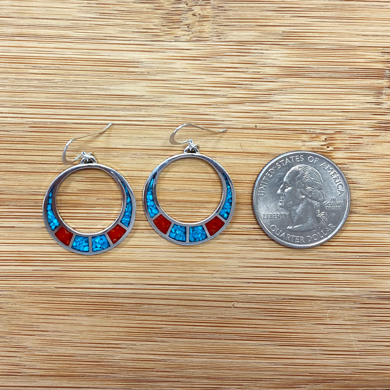 Turquoise and Coral Gemstone Sterling Silver Drop Earrings