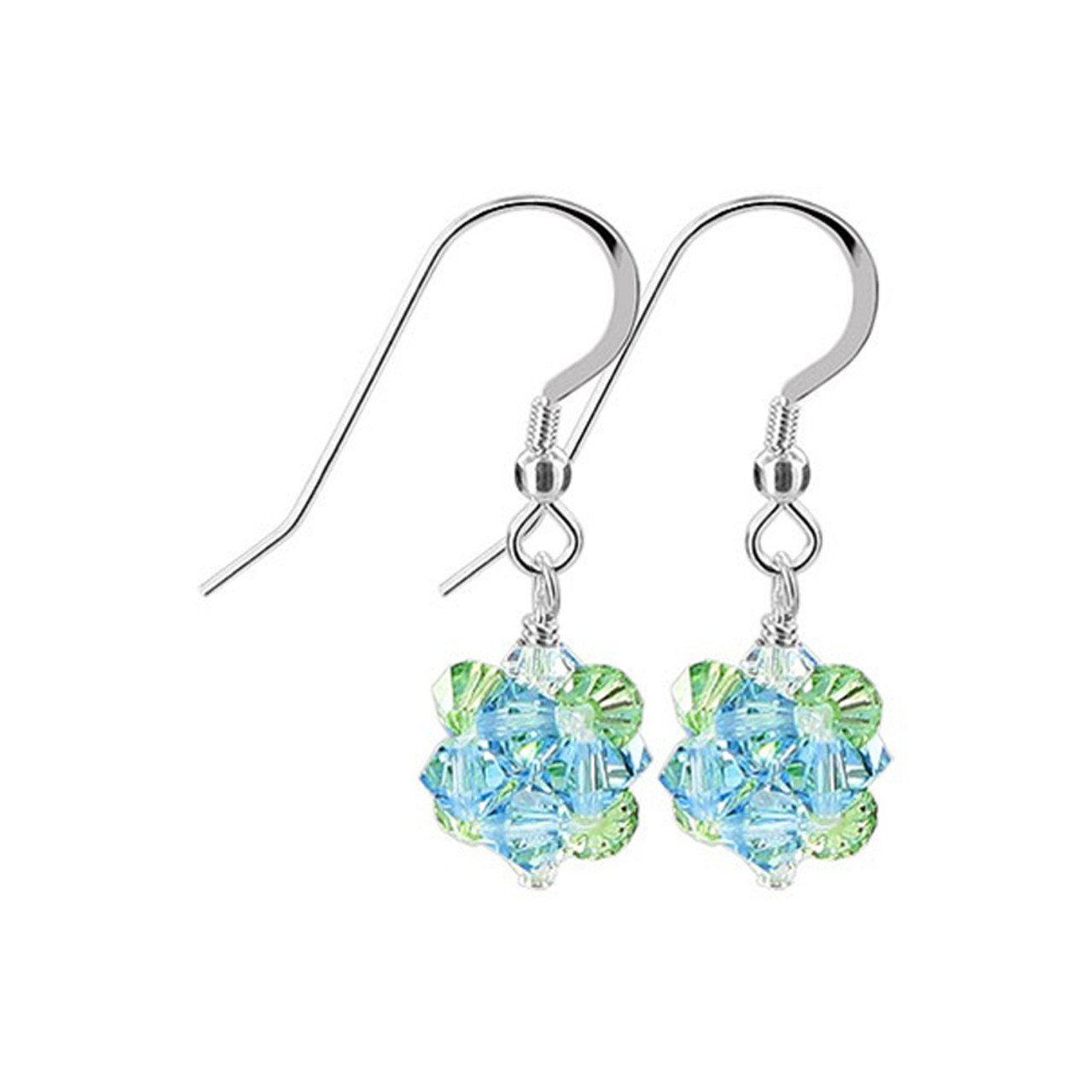 Green & Blue Crystal Drop Earrings