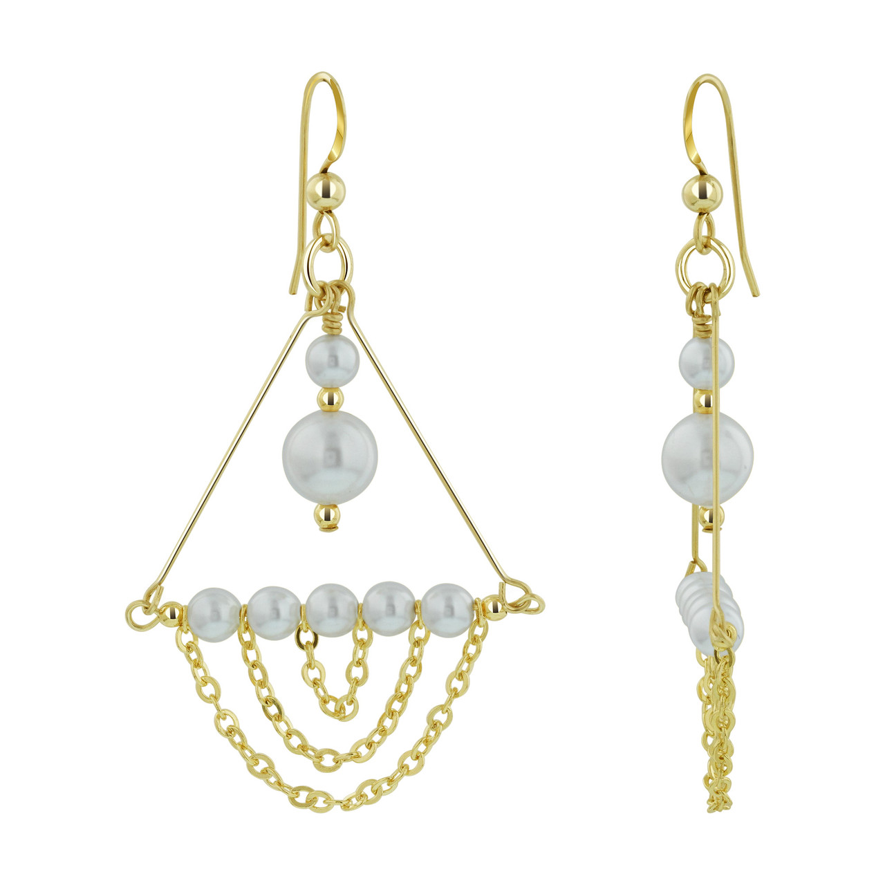 14K Gold Filled Faux White Pearl Chandelier Drop Earrings