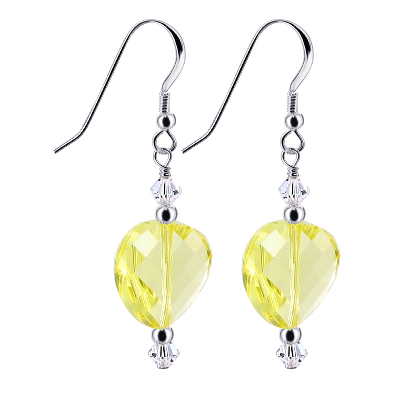 Yellow Crystal 925 Silver Drop Earrings