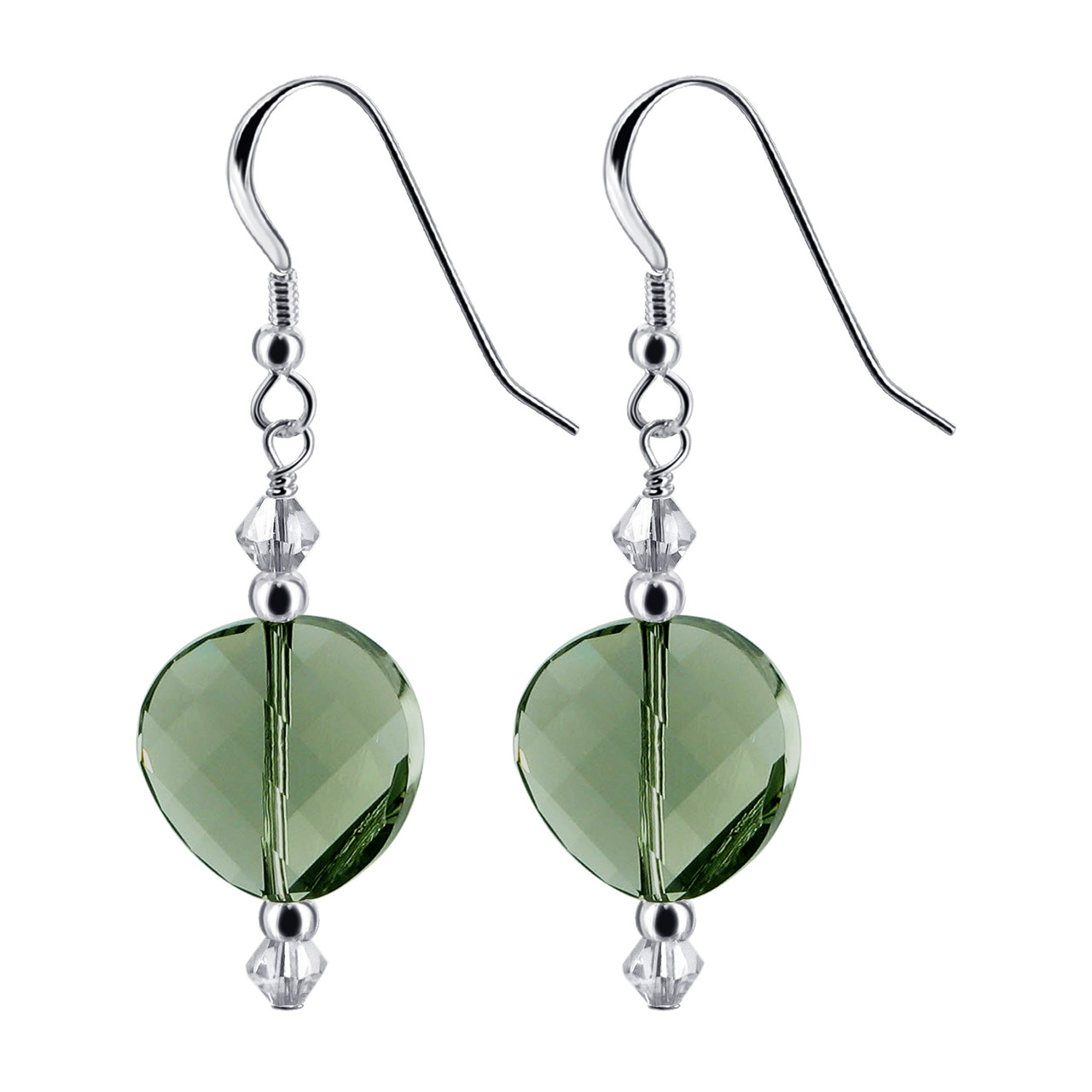 Black and Clear Crystal 925 Silver Drop Earrings