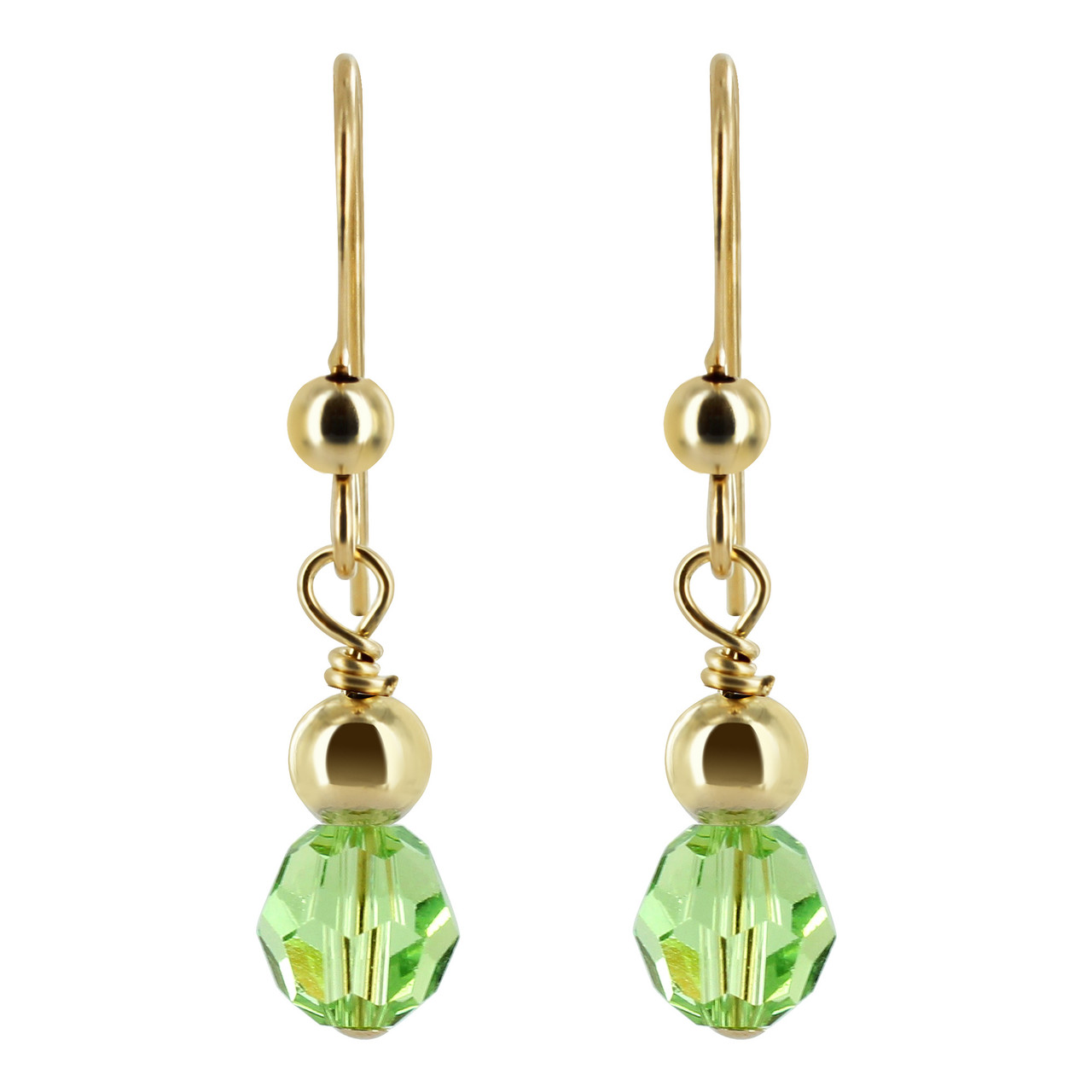 Gold filled Green Crystal Drop Earrings
