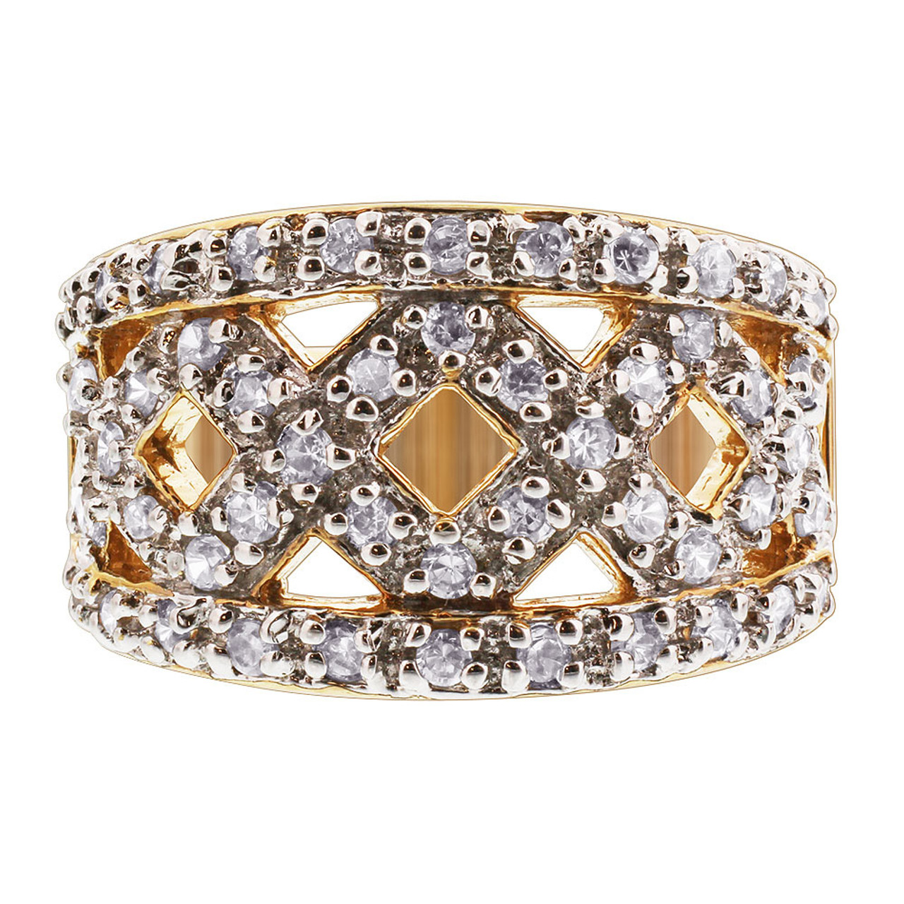 Gold Over 925 Silver Cubic Zirconia Ring