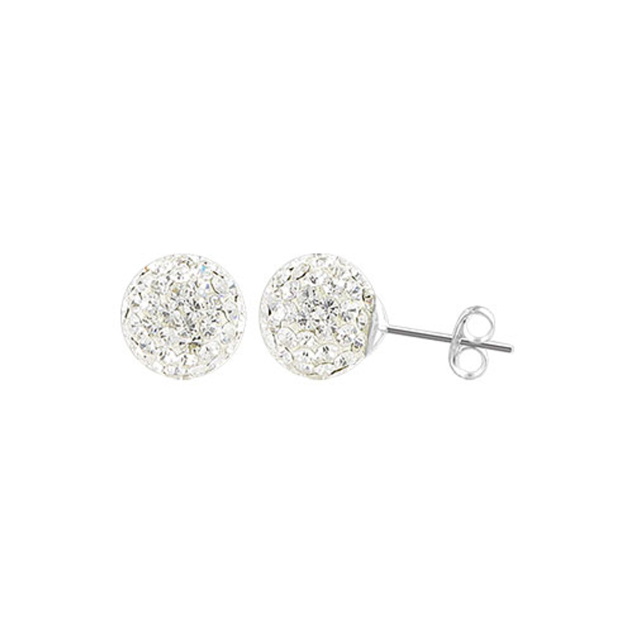 6mm Round Clear Crystal Ball Stud Earrings