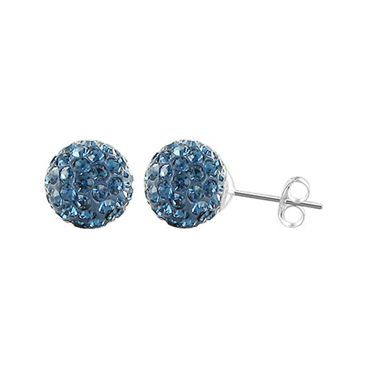 6mm Round Montana Blue Crystal Ball Stud Earrings