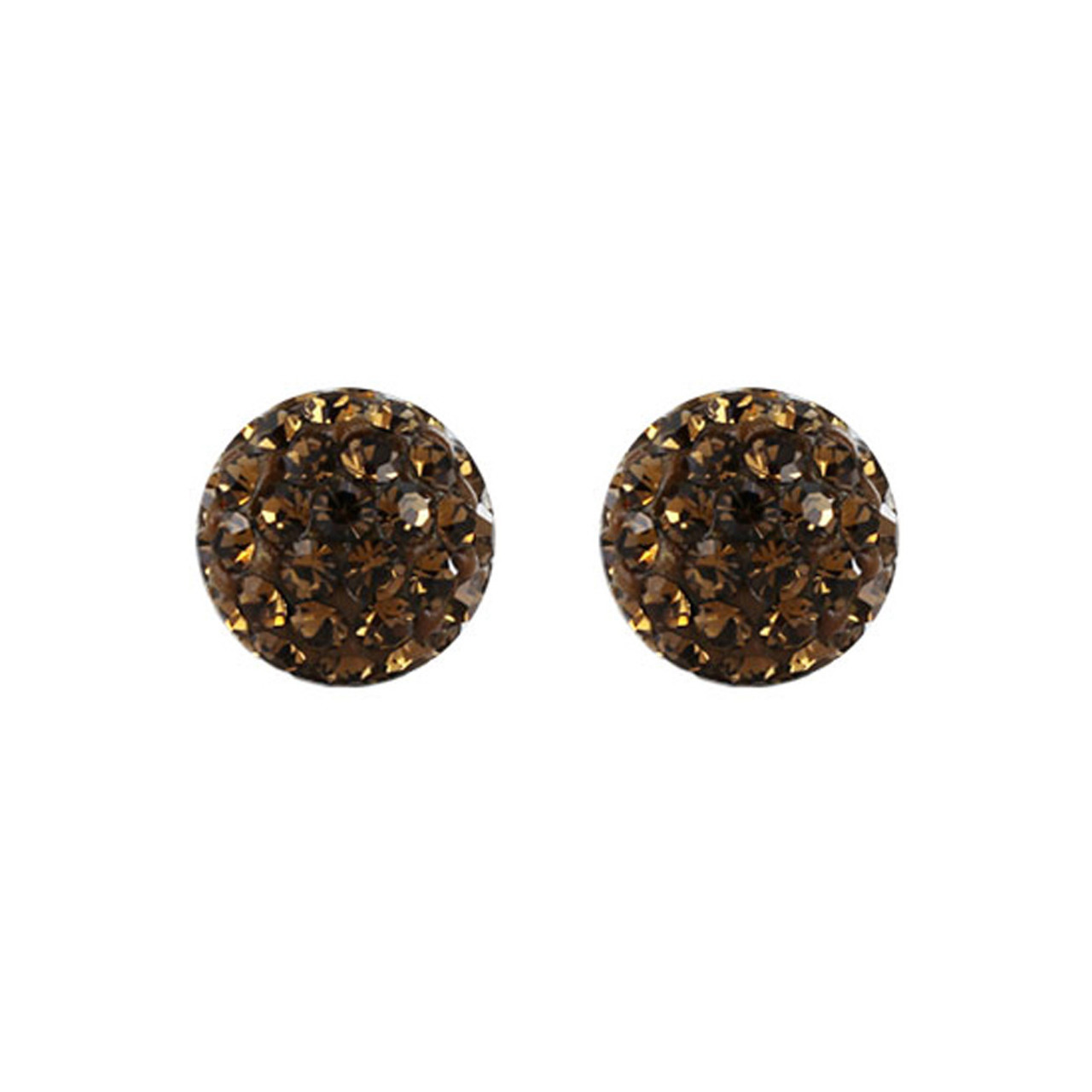 6mm Round Brown Crystal Ball Stud Earrings