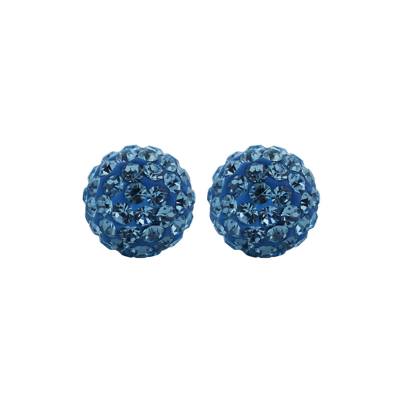 8mm Round Blue Crystal Ball Stud Earrings
