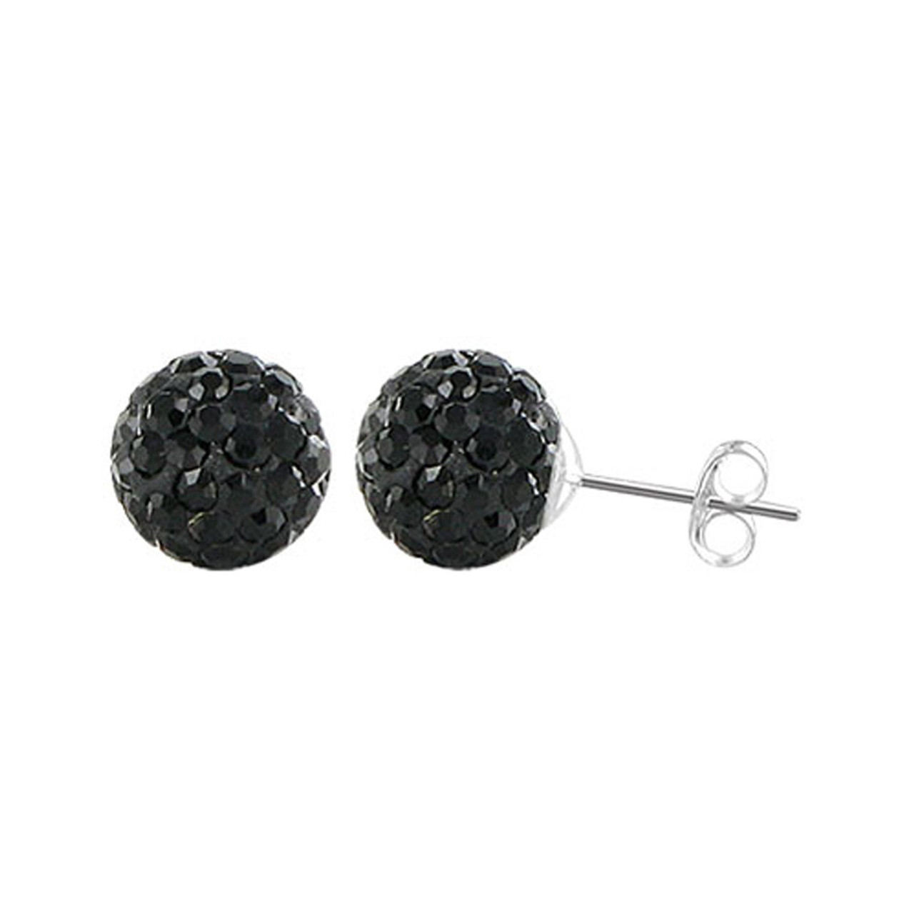 8mm Round Black Crystal Ball Stud Earrings