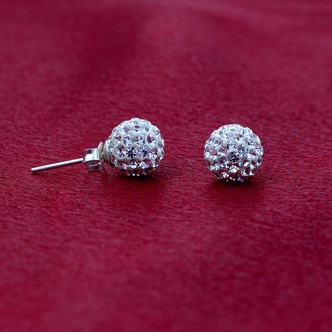 8mm Round Clear Crystal Ball Stud Earrings
