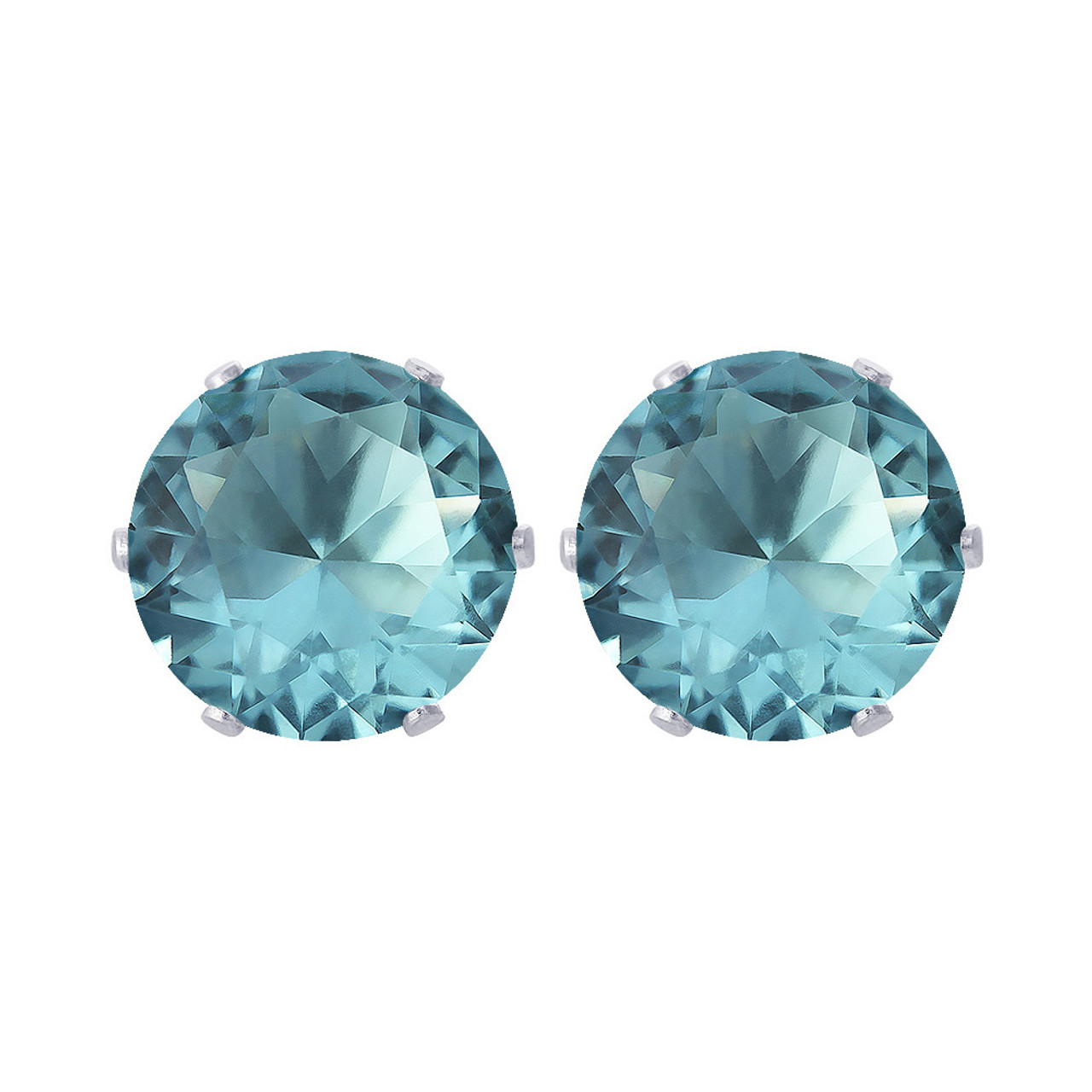 6mm Round Aqua Color March Birthstone Stud Earrings