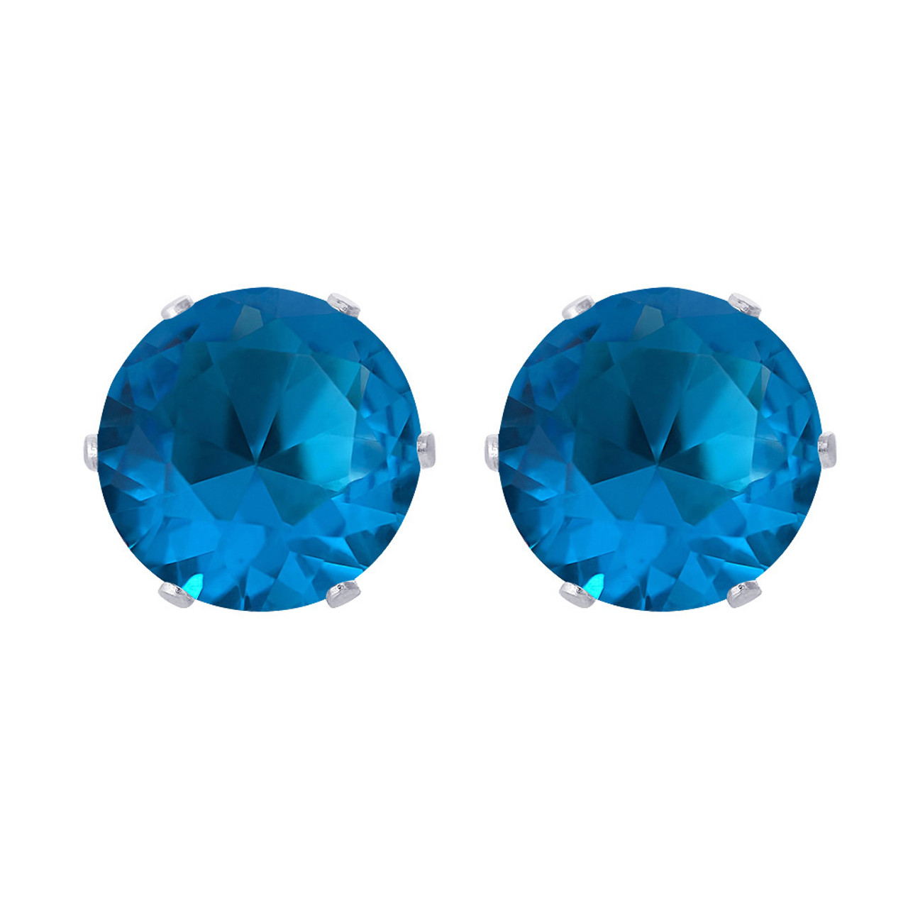 Blue Zircon Color Sterling Silver Stud Earrings