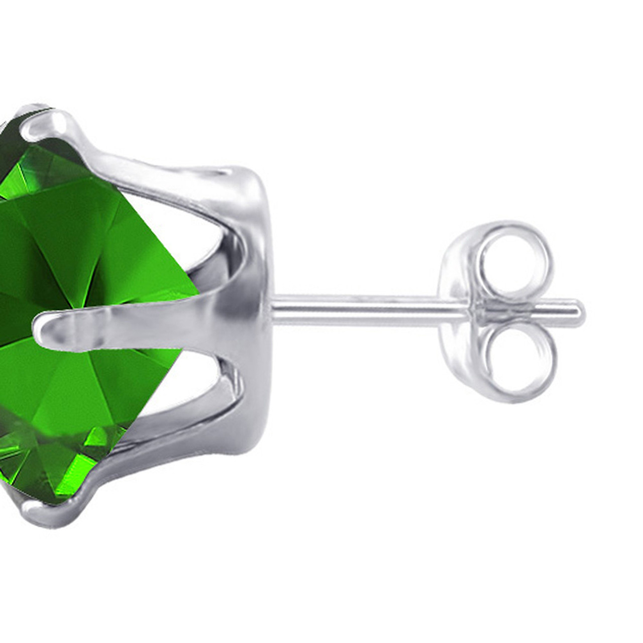 6mm Round Emerald Color May Birthstone Stud Earrings