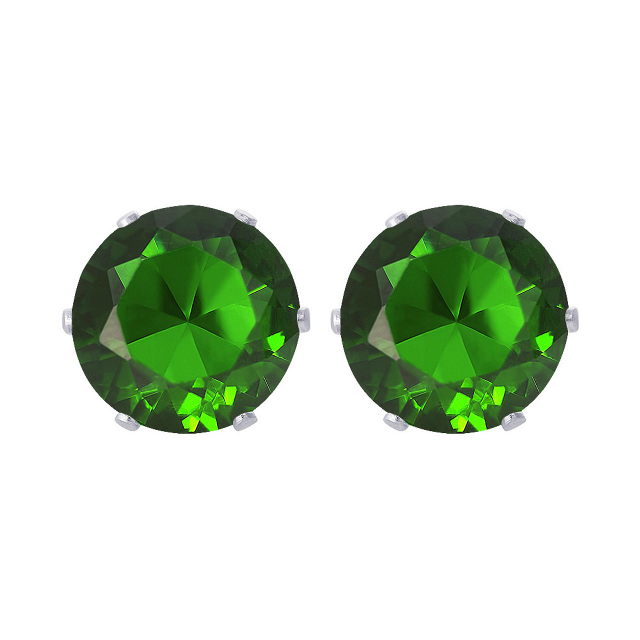 Round Emerald Color Stud Earrings